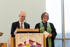 UUC President, Tim Pickering with Rev. Pam
